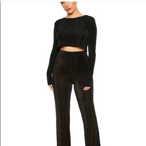Naked wardrobe black wide pants set!!!